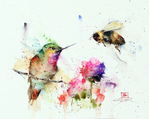 Garden Visitors - Hummingbird & Bee Watercolor Tile
