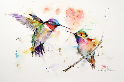 The Lovebirds - Hummingbird Watercolor Tile