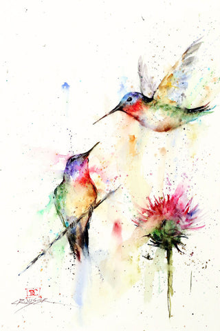 Stopping By - Hummingbird Watercolor Tile