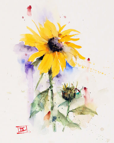Sunflower & Bud - Watercolor Tile