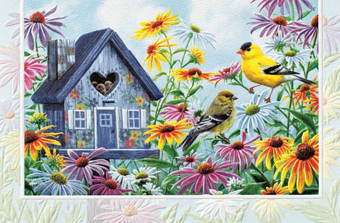 An embossed birthday card by Pumpernickel Press.  Artwork by Abraham J. Hunter features American goldfinches and a birdhouse full of chicks.  Made in the USA using agricultural-based inks.