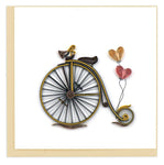 "Vintage Bicycle, a Greeting card by Quilling Card. Certified Fair Trade art cards handcrafted in Vietnam.  6"" x 6"" Extra postage required.   Blank inside.   An ideal card for a friend, weddings and anniversaries.  Also perfect for saying, ""I Love You,"" on Sweetest and Valentine's Day.  Each quilled card is truly a labor of love, taking one hour to create by hand."