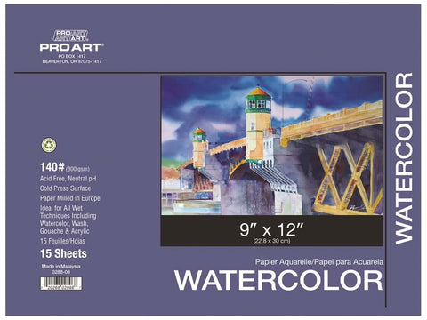 "Pro Art Watercolor Paper Block - 9""x12"""