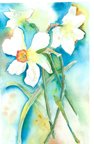 White Daffodil Surprise 2 by Megan Swoyer.  11 x 8. Watercolor on cold press fine art paper.