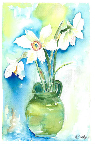 White Daffodil Surprise 3 by Megan Swoyer.  7 x 11. Watercolor on cold press fine art paper.
