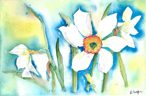 White Daffodil Surprise by Megan Swoyer.  11 1/2 x 7 1/2. Watercolor on cold press fine art paper.