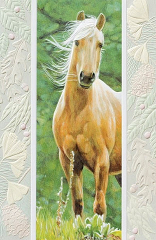 An embossed greeting card by Pumpernickel Press cards made in the USA using agricultural-based inks. Artwork by Terry Isaac features a beautiful horse with its mane flowing int he wind.