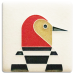 Cream Woodpecker 3x3 #3372 by Motawi.