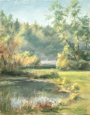 """A Calm Day at Proud Lake Recreation Area"" - oil painting by Heiner Hertling"