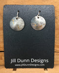 Copper & sterling silver earrings with light blue beads by Jill Dunn.