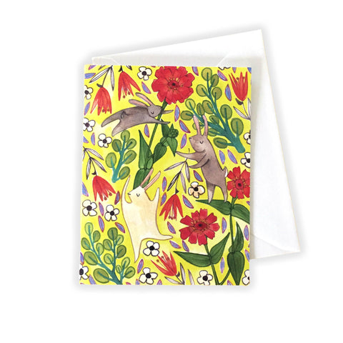 Yellow Bunnies Notecard