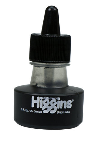 HIGGINS PIGMENTED WATERPROOF DRAWING INK BLACK INDIA 1OZ