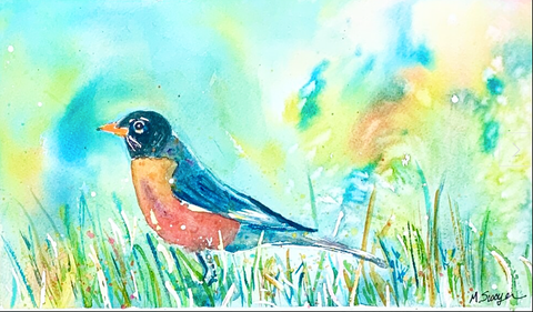 Spring Song Robin by Megan Swoyer.  11 x 7. Watercolor on cold press fine art paper.