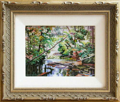 Miniature oil painting of a creek in the middle of the woods with fallen cedar trees.