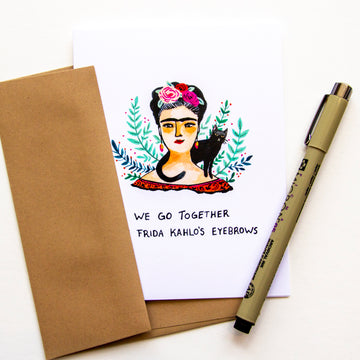 Illustrated card of Frida Kahlo with text,