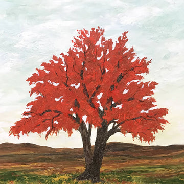 Acrylic painting of a tree with red leaves by Sue Gilbert.