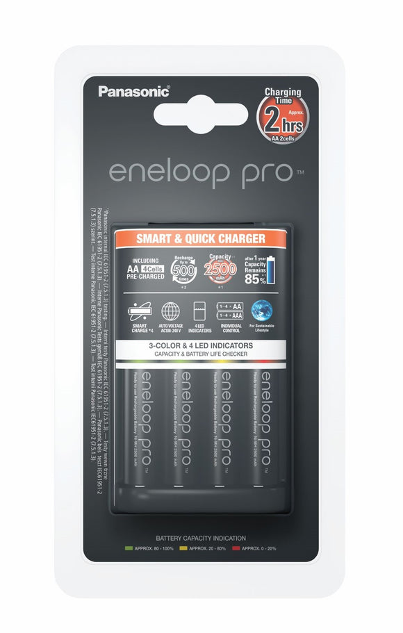 Smart Fast Charger including 4AA eneloop pro batteries