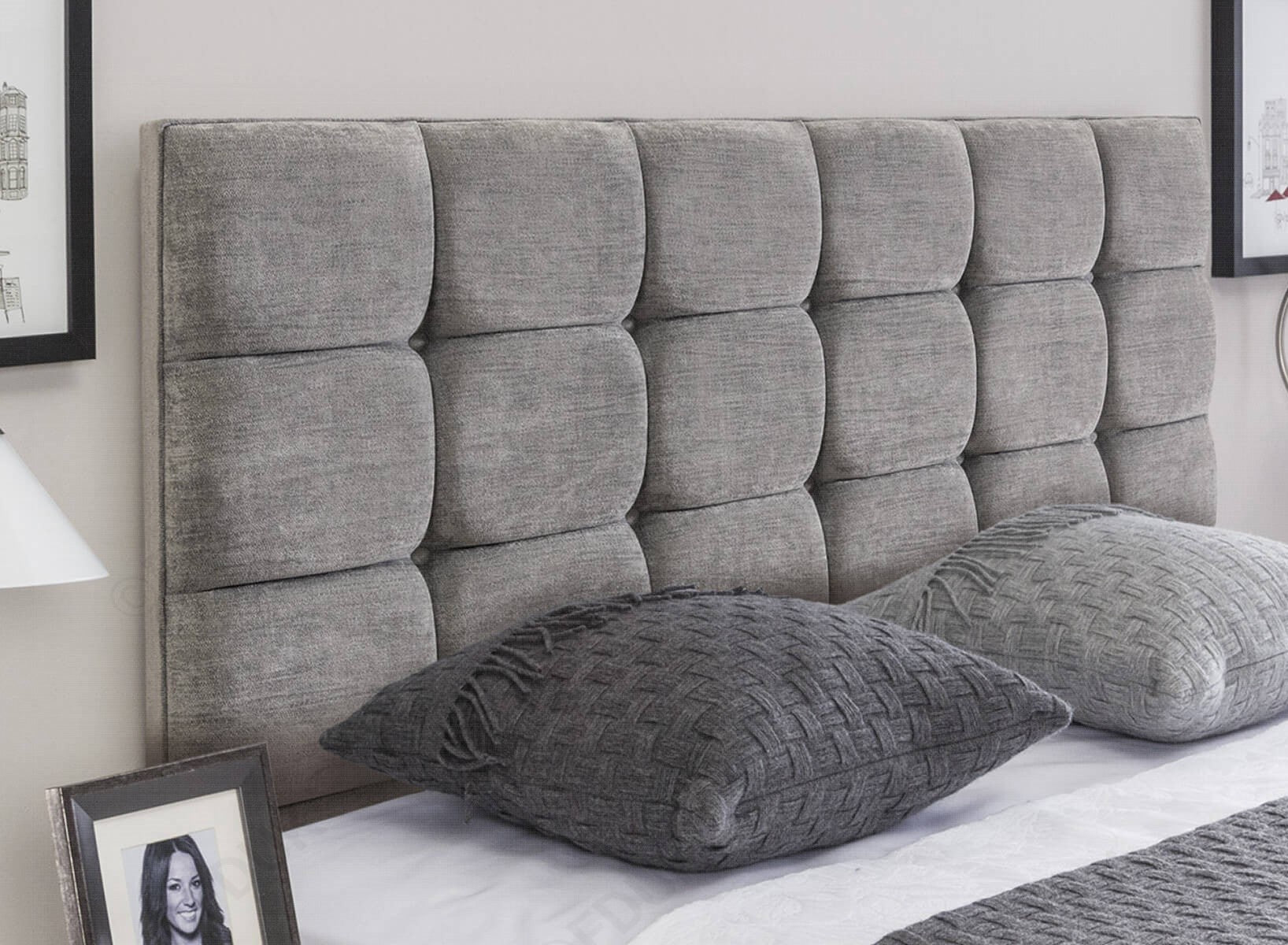 Grey Buttoned Upholstered Headboard