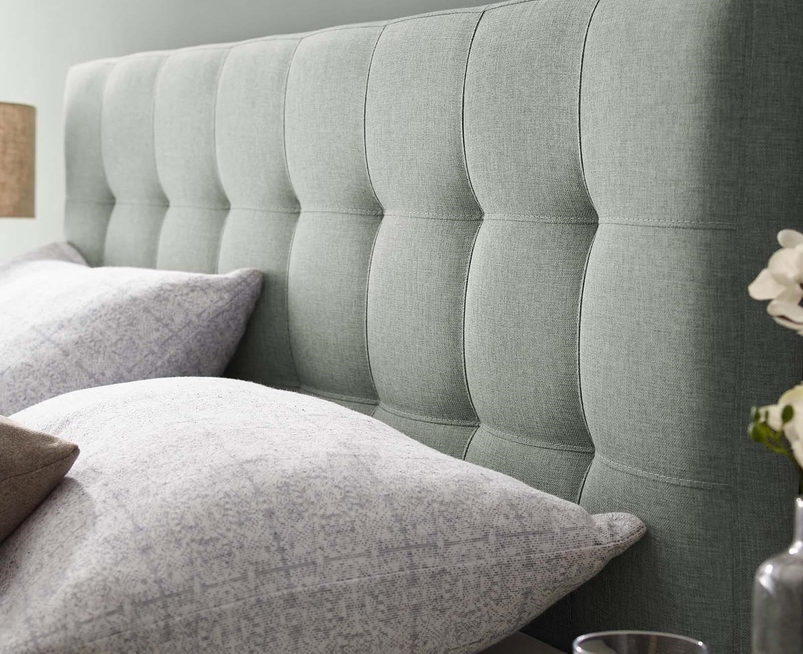 Light Grey Buttioned Upholstered Headboard