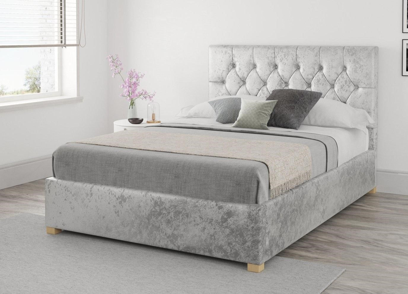 Silver Fabric Upholstered Ottoman Bed