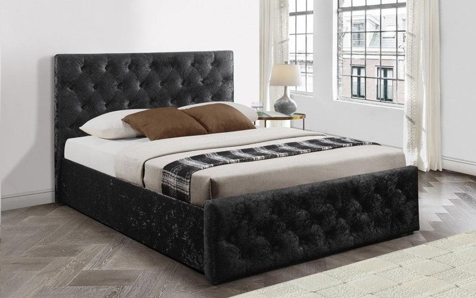 Plush Fabric Upholstered Ottoman Bed