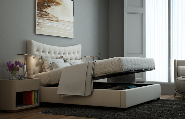 Crown Ottoman Upholstered Storage Bed Frame