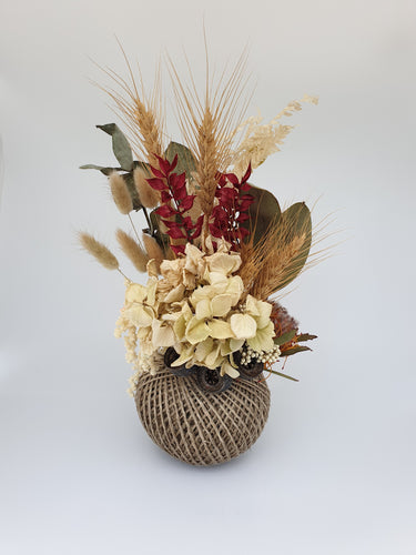 Neutrals and Splash of Reds in Kokedama (Medium)