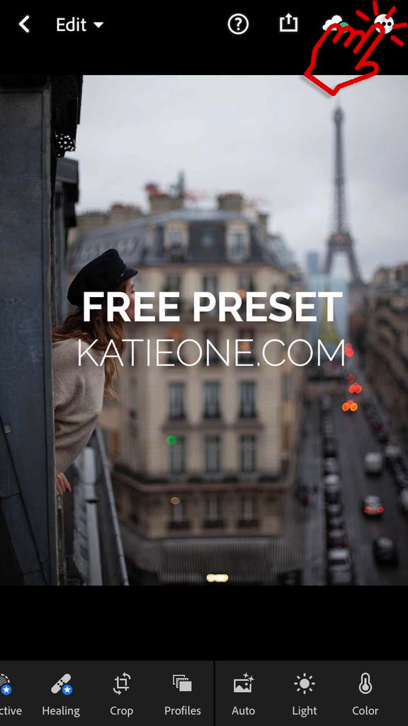 creating preset by tapping on three dots adobe lightroom