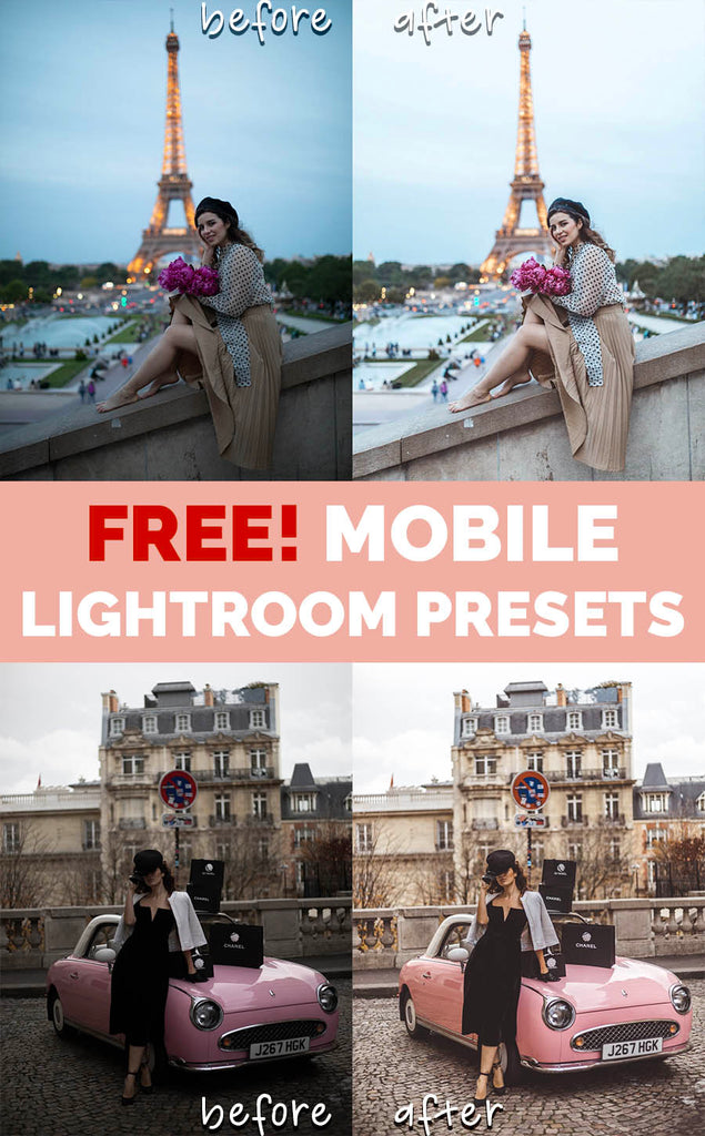 Free Mobile Lightroom Presets Katie.one: Before and after images. Examples and Title picture.