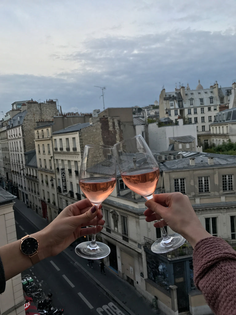 Cheers photo with pretty view