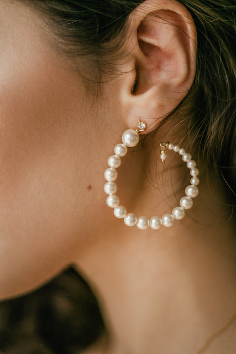 Luna Pearl Hoop Earrings