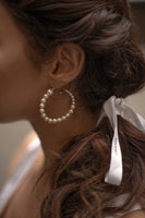 Luna Pearl Hoop Silver Earrings