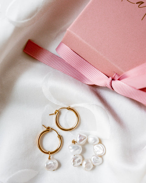 Sophia Pearl Hoop Earrings