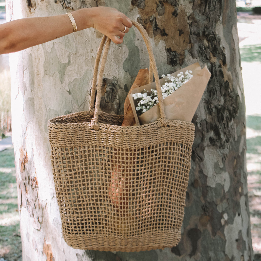 handmade woven bag made from wheat