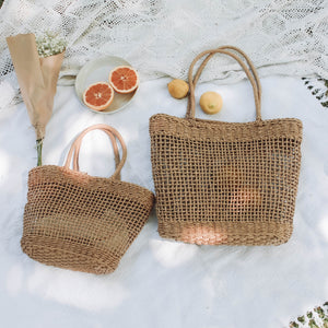 Picnic with the handmade woven bag made from wheat
