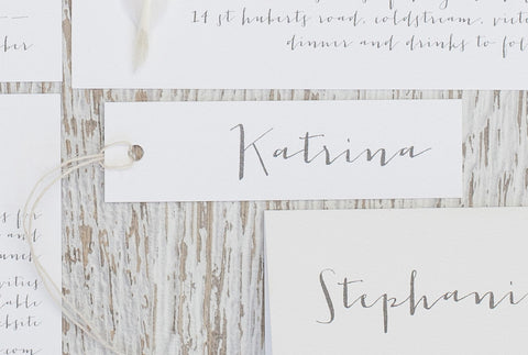 white place card . tag