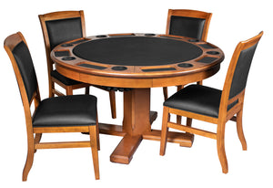 Game Room Furniture: City Series 3 in 1 Game Set with Chairs, Cinnamon (bumper pool, poker table, & dinner table) - Game Rooms Direct