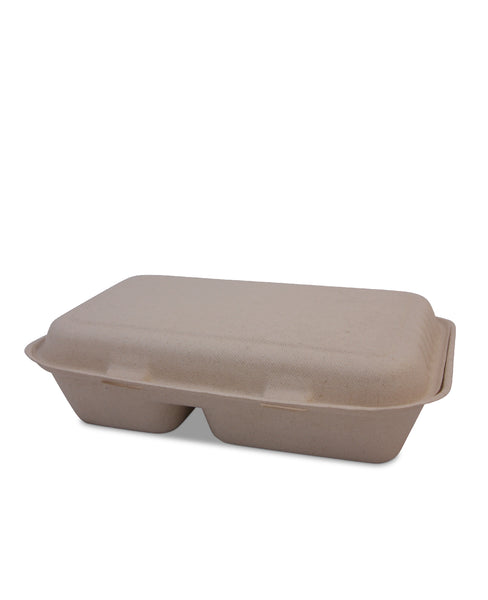 1100ml 2 Comp Sugarcane Clamshell - Nature Pac