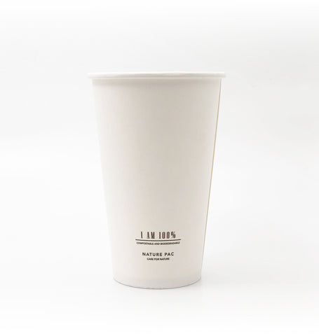 16oz (500ml) PLA Cups - White
