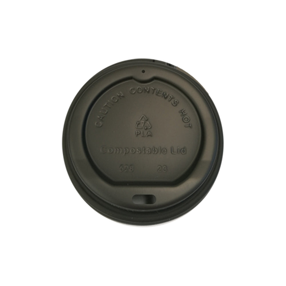 90mm PLA Lid - Black & White (8ozB/12oz/16oz) - Nature Pac