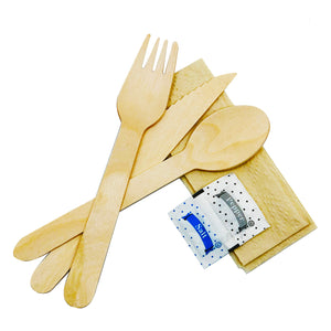 Wooden Cutlery Set - Knife, Fork, Spoon, Napkin, Salt & Pepper
