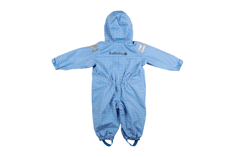 Achterkant Original Rainsuit Regenpak Onesie Ducksday Funky Blue