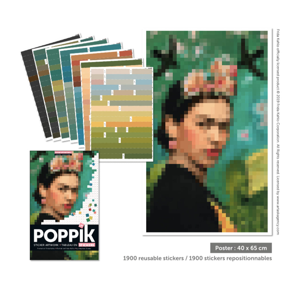 Poppik stickerposter Frida Kahlo (portrait)