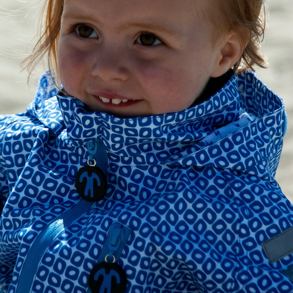 Ducksday original rainsuit funky blue regenpak onesie om in modder te ravotten