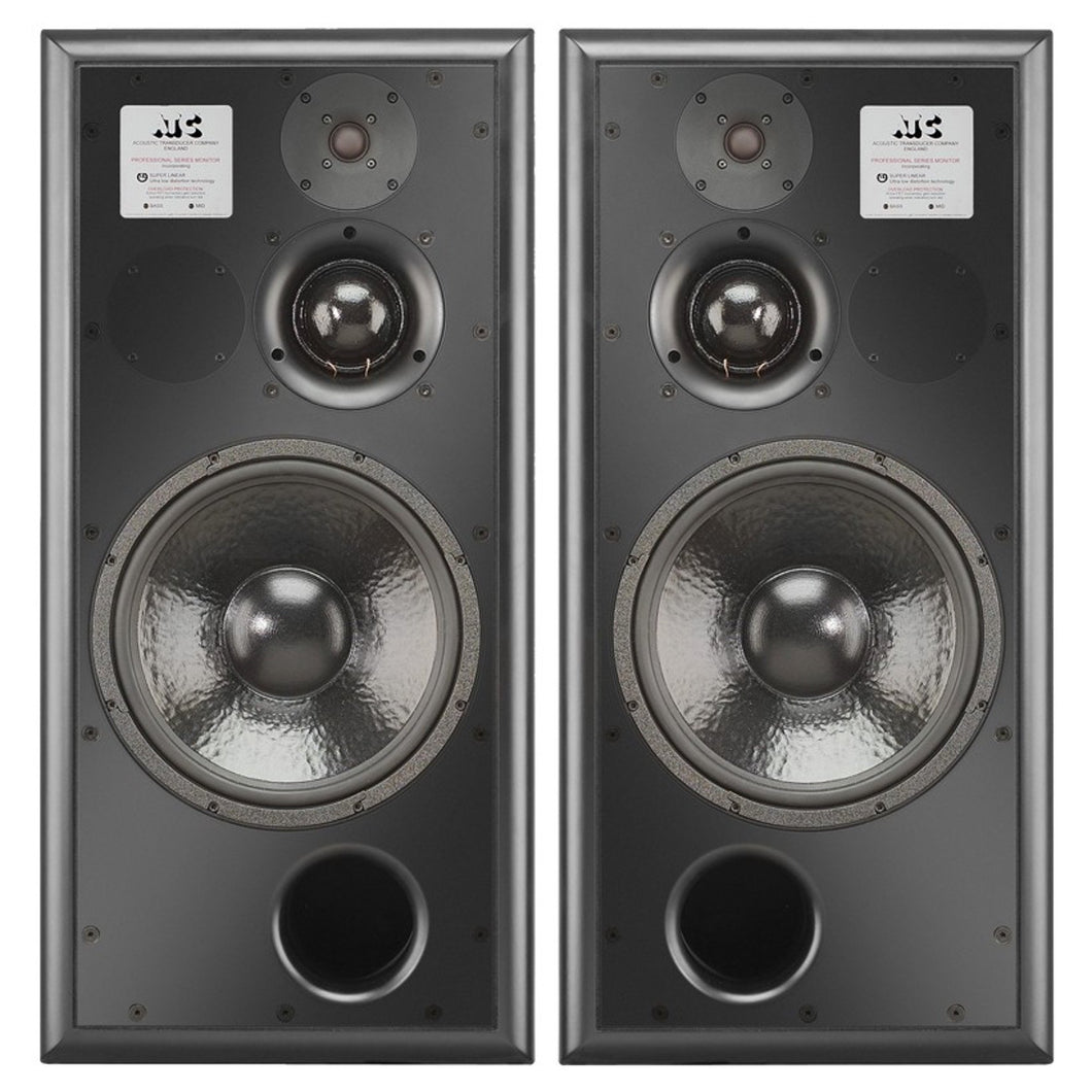 Pair of Black ATC SCM100ASL Pro Studio Monitors - Front View