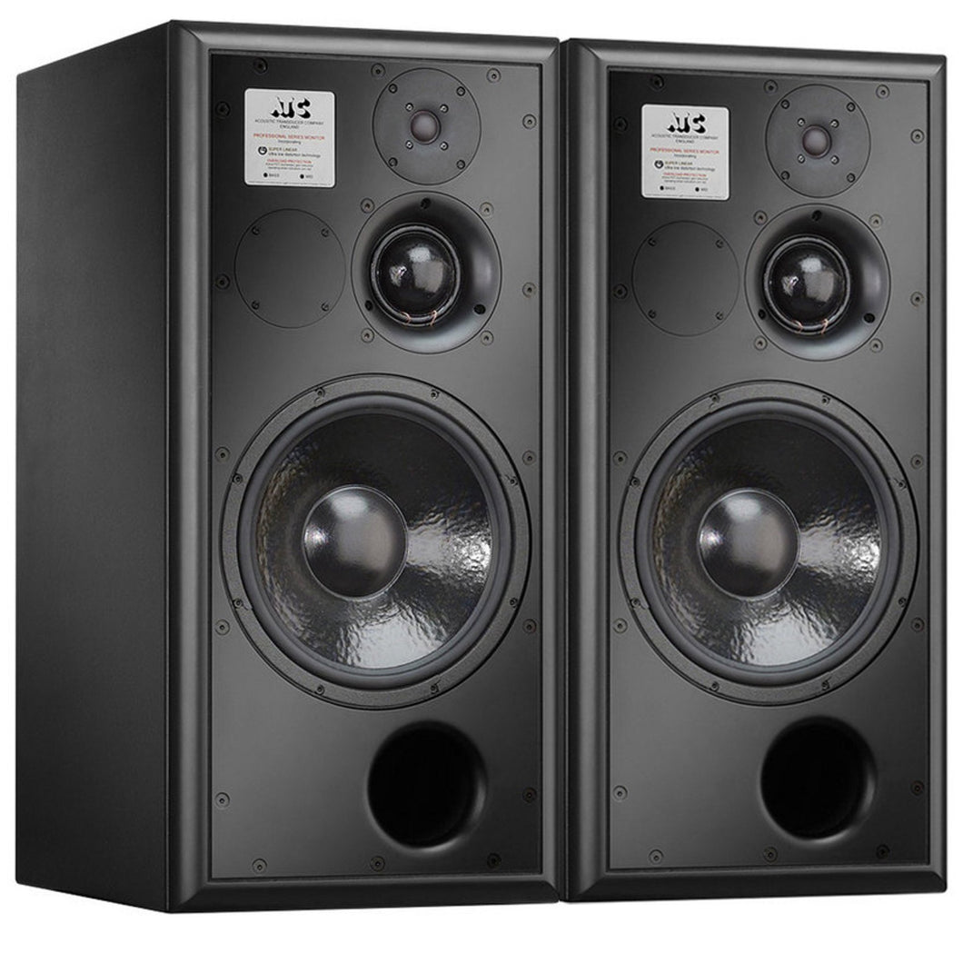 black atc scm50asl pro studio monitor front angled view