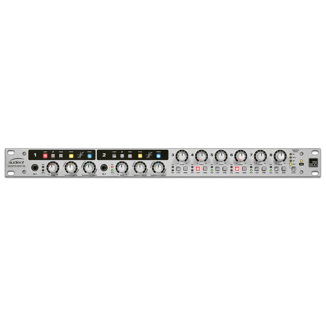 Audient ASP800 Eight-channel Microphone Preamplifier in white, front view.