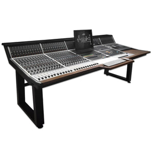 Audient ASP8024 Heritage Edition 24-Channel Console plus stand front view.
