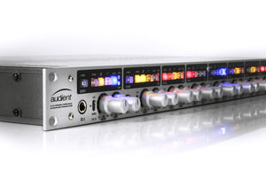Audient ASP880 8 Channel Microphone Preamp close-up view.