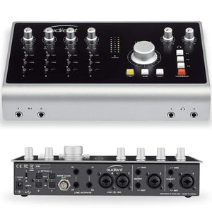 Audient ID44 Audio Interface front and back view.